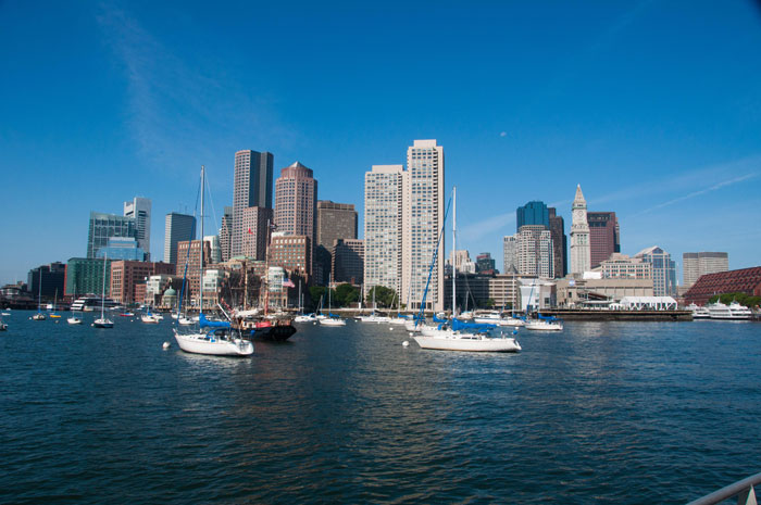 Wide view of Boston Seaport Buildings