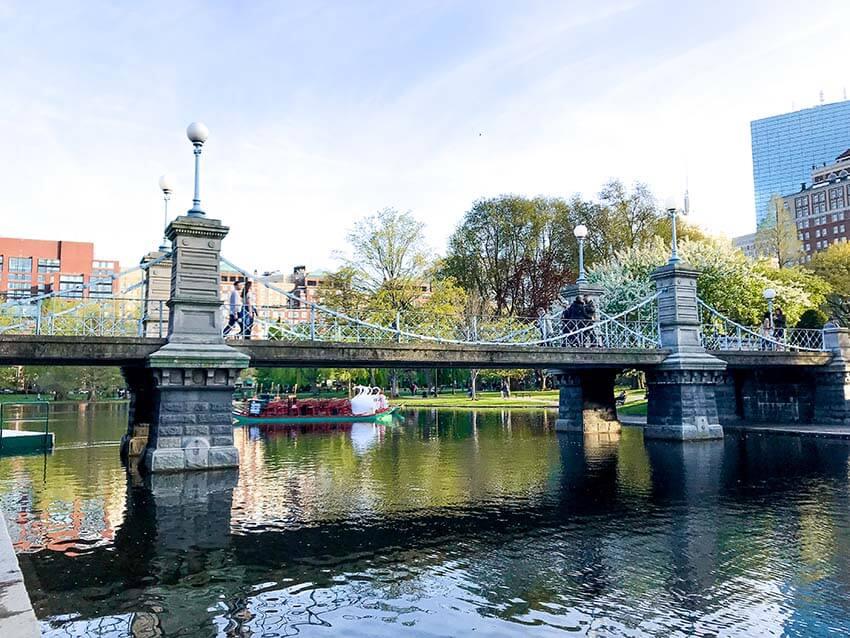 Boston Public Garden Swan Boats Bridge