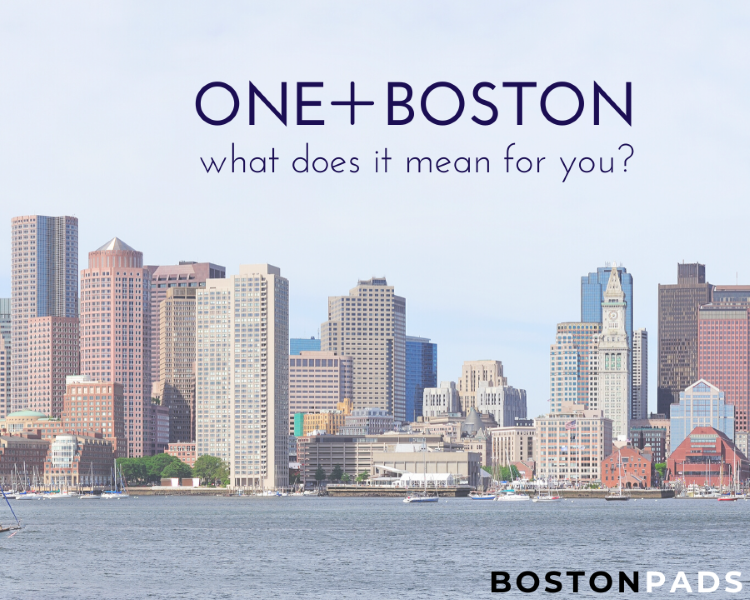 Boston Skyline with words saying What does One Plus Boston Mean for you