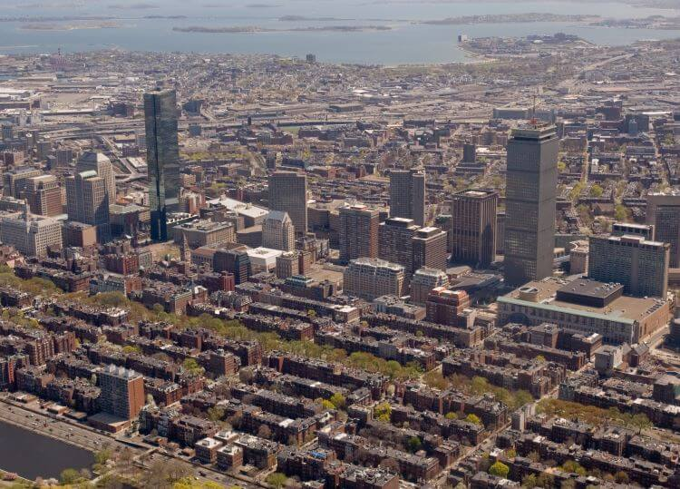 Boston Aerial Shot of Different Neighborhoods