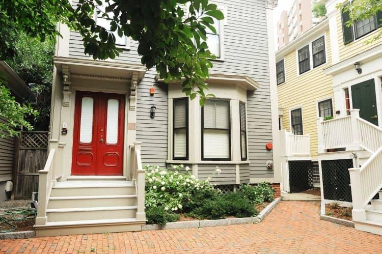 Red door in Boston multifamily