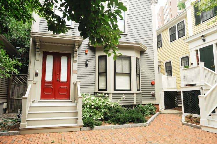 Red door in Boston multifamily