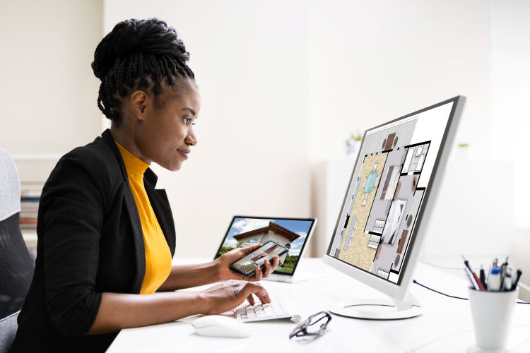 Woman looks at apartment listings